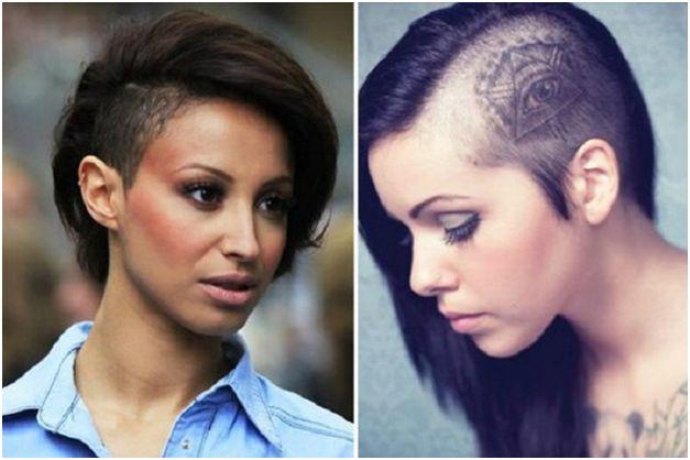 Девушки с выбритыми волосами на голове