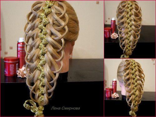 Ажурная коса из пяти прядей с одной лентой