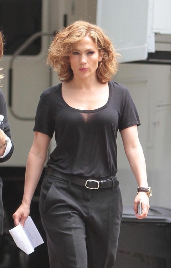 Jennifer Lopez is seen walking to the set for her NBC TV show