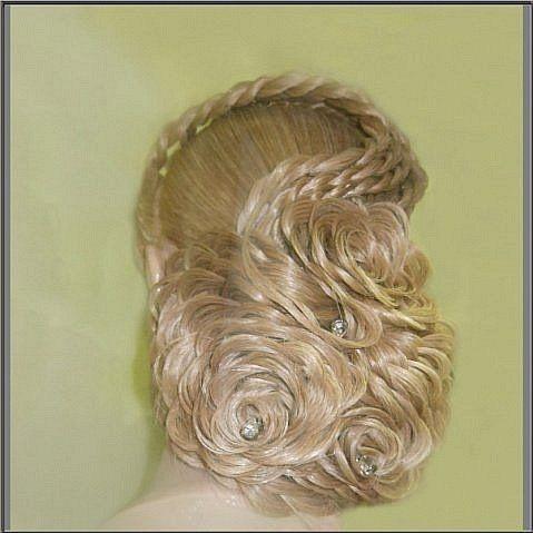 Как сделать свадебную прическу цветок из волос.