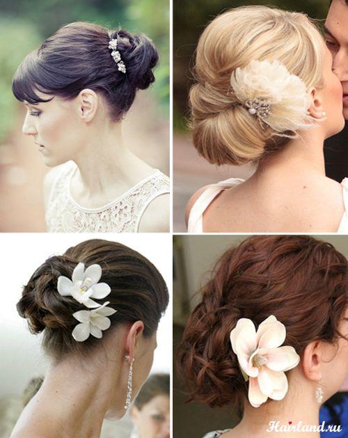 Свадебные прически на средние волосы с пучками