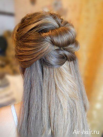Прическа на длинные распущенные волосы