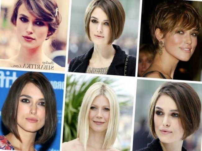 так как нужно зрительно «укоротить» лицо, необходимо отказаться от длинных прямых волос и причесок с вертикальными линиями и очень коротких стрижек