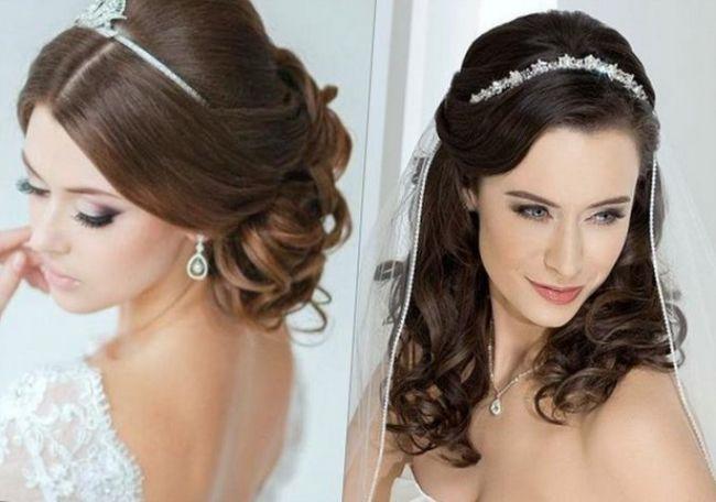 Два варианта длинных свадебных полусобранных причесок - один с фатой, другой без фаты с объемными завитыми прядями волос