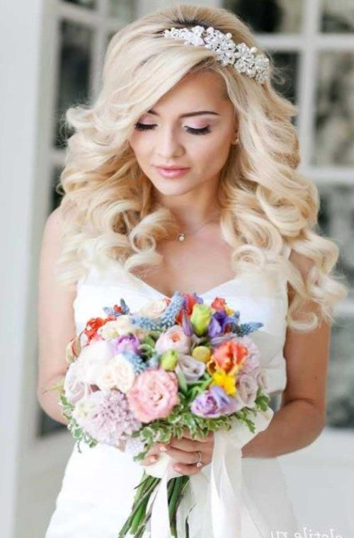 На фото стилисты показывают основные способы, с помощью которых диадема прикрепляется к прическе невесты