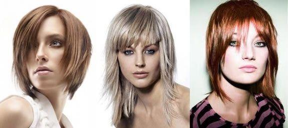 Стрижки на средние волосы с косой челкой