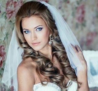 свадебные прически фото с фатой