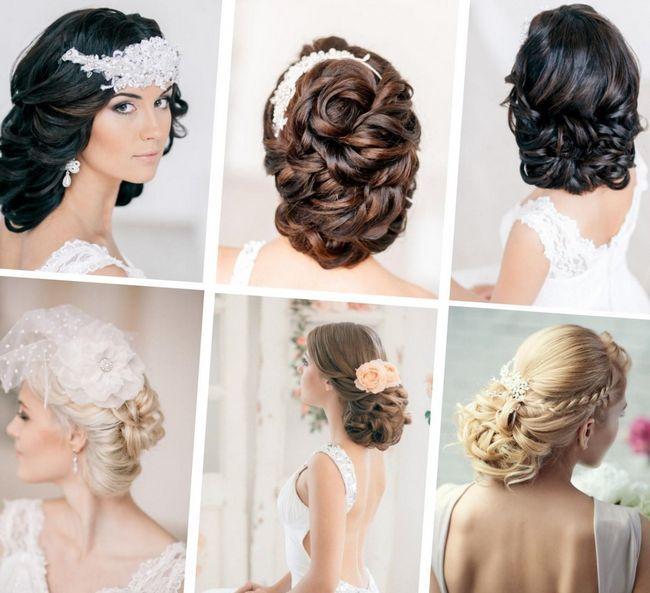 Замысловатые причёски из собранных волос. Подойдут для элегантных и утончённых невест. Сочетаются с платьем в греческом стиле с открытой спиной и шеей.